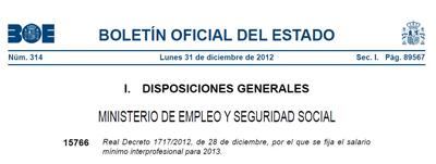 INEAF Salario mínimo interprofesional 2013