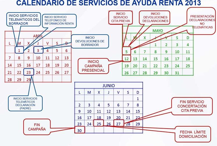 calendario renta 2013